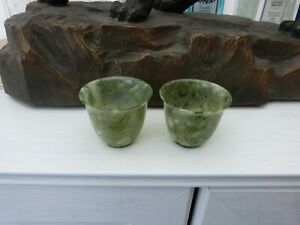 Two Vintage Spinach GreenJade or Serpentine Cups (Translucent  Bowls)