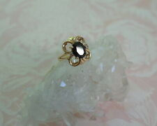 10K Yellow Gold Diamond Black Onyx . Size 6.75