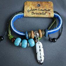 Erica Wrap Bracelet Leather Personalized Name Boho Faux Turquoise Beads