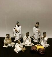 Rare Vintage Set of 6 Immortals Chinese Art Pottery Figurines and Bonus Koi Fish
