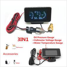 3In1 12/24V Car LCD Digital Oil Pressure/Voltmeter/Water Temperature Gauge Meter