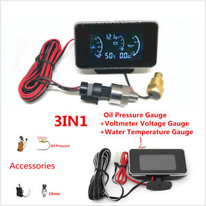 3In1 12/24V Car LCD Digital Oil Pressure/Voltmeter/Water Temperature Gauge Meter
