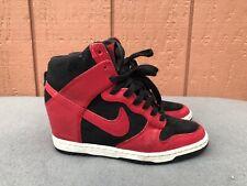 NIKE Black Red Leather Dunk Sky Hi Wedge Women US 6.5 Sneaker 528899-016 C3