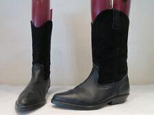 VINTAGE WRANGLER BLACK LEATHER SUEDE PULL ON COWBOY BOOTS UK 5 (3549)