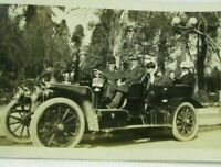 Antique 1910 Photo ALCO ? Touring Convertible Car Seated Group Street Light
