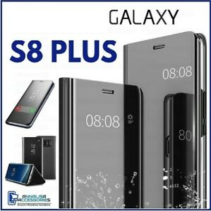 COVER FLIP PER SAMSUNG GALAXY S8 PLUS + CUSTODIA A LIBRO CLEAR VIEW 360 NERA S 8
