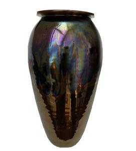 "Furman - Hand Thrown Art Pottery Vase Metallic Peacock Blue Glaze 10"""