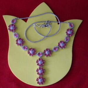 "Elegant Pink Raspberry Rhodolite Garnet CZ Silver Necklace 29 Gr. 11"" In Long"