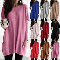 Women Plus Size Long Sleeve Pullover T-shirt Loose Baggy Casual Tunic Top Jumper