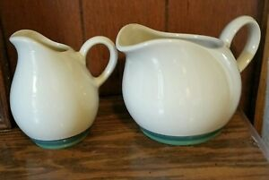 Vintage SET of 2 PFALTZGRAFF PITCHERS CREAM COLOR WITH GREEN BAND Creamer