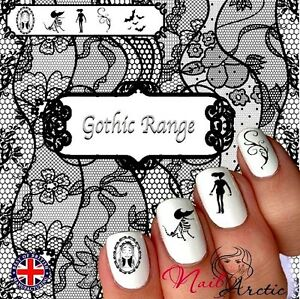 40 x Nail Art Water Transfers Stickers Wraps Decals Gothic Goth Corpse Bride