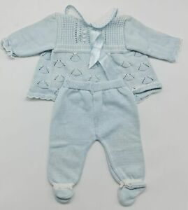 Noble French Baby Knitted Set Handmade Trousers Pullover Size 56 Newborn
