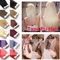 """16""""-24"""" PU Tape In Remy Skin Weft Hair Extensions 100% Remy Human Hair 20PCS"""