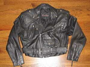 Vintage WILSONS Cropped Black Leather Belted Motorcycle Biker Jacket Women's S