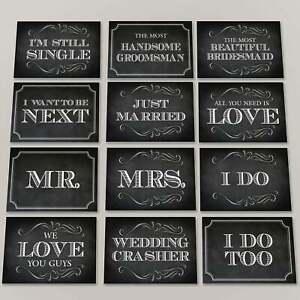 Chalkboard style wedding photo props