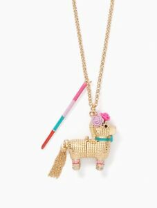 KATE SPADE 12K Gold-Plated Scenic Route Penny The Piñata Pendant Necklace New