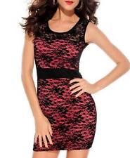 Sexy Womens Pink Mini Dress Black Lace Clubbing Dancewear Rock Glam Cocktail