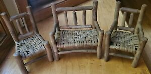 Vintage Wood Handmade Woven Teddy Bear Doll Bench and Chairs with Woven Seats