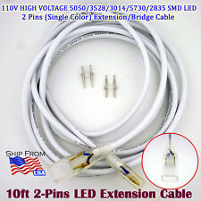 10ft 2Pin 110V Single Color LED Strip Extension Cable 5050/3528/3014/5730/2835 M