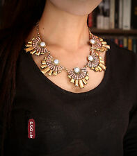 Collier Ethnic Art Deco Fan Rose Metal Baroque Original Vintage Retro Style QT 2
