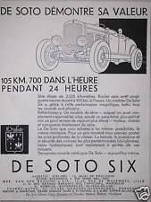 PUBLICITÉ CHRYSLER MOTORS DE SOTO SIX 105 KM 700 L'HEURE PENDANT 24 HEURES