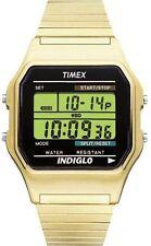 Mens Timex Indiglo Classic Sports Digital Alarm Gold Stretch Band Watch T78677