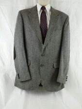 Stafford Men's Sport coat 100% pure wool Size 42L Herringbone Leather Elbow
