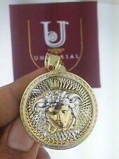 10K Solid Yellow Gold Two Tone Diamond Medusa Medallion Pendant Charm