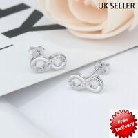 Small 925 Sterling Silver Infinity Earrings Friendship Womens Girls Stud Earring