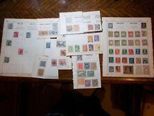old tatty album pages/scraps bavaria saxony malta stamps etc