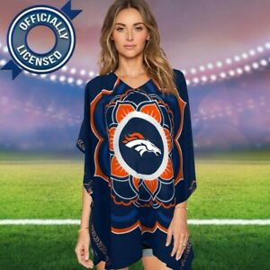 Little Earth Women's NFL Denver Broncos Caftan Semi-Sheer Blouse Shirt One Size