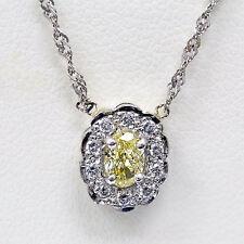 14k White Gold Fancy Yellow Oval Cut Diamond Halo Pendant
