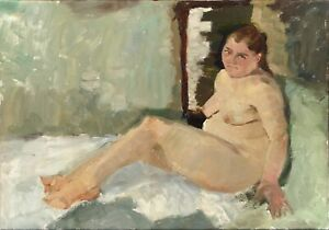 """Russischer Realist Expressionist Öl Leinwand """"Frauenakt"""" 80x55 cm"""
