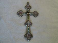 antique hand made grand tour micro mosaic crucifix