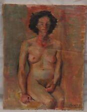 VINTAGE OIL PAINTING PORTRAIT of NUDE WOMAN by RICHARD N. BERGLUND 1950'S