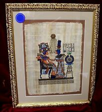 "Egyptian Painting, Hand-Painted on Papyrus, ""Before the Throne of the King"""