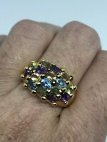 Vintage Golden Gemstone Ring 925 Sterling Silver Size 9