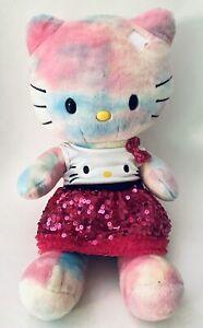 "Hello Kitty Build a Bear, Watercolor Tie Dyed Pastel 19"" Plush W/ Dress Panties"