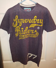 SUPERDRY RIDERS LEATHERS T-SHIRT PURPLE YELLOW WORN WASH S 36