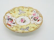 Antique 19thc Hand Painted Saucer Yellow Ground Flowers & Gilding