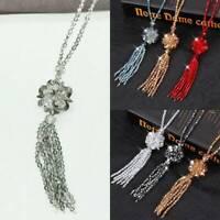 Women Long Tassel Crystal Pendant Bead Chain Fashion Sweater Necklace Jewellery