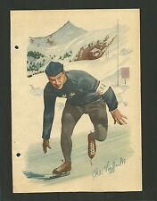 Ake Seyffarth Speed Skating Olympic Vintage 1950 Swedish Sports Print Photo Card