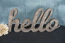 "Large Wood Die Cut ""HELLO"" Distressed Whitewashed ~ Wooden Sign Home Photo Prop"