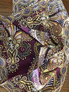 "New 14"" Satin 100% Silk Pocket Square Men's  Deep Purple Paisley Designer"