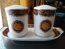 T.Limoges Bacchus Designed in France Porcelain Salt & Pepper Shakers with tray