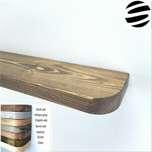Floating Wood Shelves. Rustic Style. Rounded Corners. Various Length.19.5cm wide