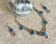New 5 Stones Turquoise Alpaca Silver necklace and earrings set