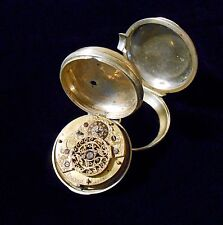 European Verge Fusee Pair Case Pocket Watch Franch London 1740 circa