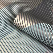 Geometric Stripes Teal Metallic Wallpaper Suede Effect Belgravia Decor Hoxton