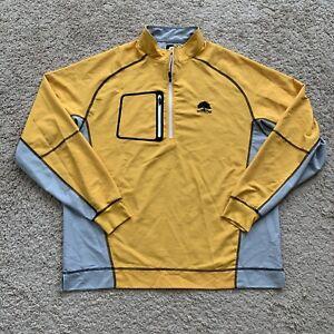 FJ Footjoy 1/4 Zip Pullover Pocket Men Large Long Sleeve Golf Yellow Gray HH25